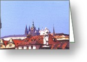 Czech Republic Digital Art Greeting Cards - Prague Castle Greeting Card by Steve Huang