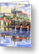 Watercolor Painting Greeting Cards - Prague Castle with the Vltava River 1 Greeting Card by Yuriy  Shevchuk