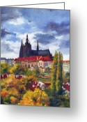 Old Town Painting Greeting Cards - Prague Castle with the Vltava River Greeting Card by Yuriy  Shevchuk