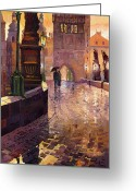 Oil On Canvas Painting Greeting Cards - Prague Charles Bridge 01 Greeting Card by Yuriy  Shevchuk