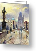 Old Painting Greeting Cards - Prague Charles Bridge 02 Greeting Card by Yuriy  Shevchuk