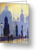 Old Painting Greeting Cards - Prague Charles Bridge 03 Greeting Card by Yuriy  Shevchuk