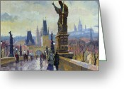 Buildings Painting Greeting Cards - Prague Charles Bridge 04 Greeting Card by Yuriy  Shevchuk