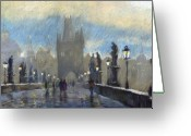 Prague Pastels Greeting Cards - Prague Charles Bridge 06 Greeting Card by Yuriy  Shevchuk