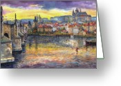 Castle Painting Greeting Cards - Prague Charles Bridge and Prague Castle with the Vltava River 1 Greeting Card by Yuriy  Shevchuk