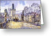 Old Painting Greeting Cards - Prague Charles Bridge Mala Strana  Greeting Card by Yuriy  Shevchuk