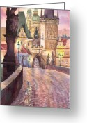 Watercolour Greeting Cards - Prague Charles Bridge Night Light 1 Greeting Card by Yuriy  Shevchuk