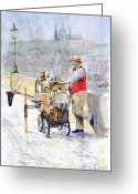 Old Painting Greeting Cards - Prague Charles Bridge Organ Grinder-Seller Happiness  Greeting Card by Yuriy  Shevchuk
