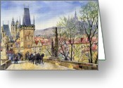 Paper Painting Greeting Cards - Prague Charles Bridge Spring Greeting Card by Yuriy  Shevchuk