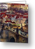 Oil On Canvas Painting Greeting Cards - Prague Charles Bridge with the Prague Castle Greeting Card by Yuriy  Shevchuk