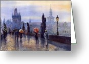 Watercolour Greeting Cards - Prague Charles Bridge Greeting Card by Yuriy  Shevchuk