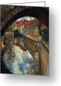 Town Painting Greeting Cards - Prague Chertovka 3 Greeting Card by Yuriy  Shevchuk
