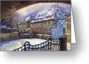 Prague Pastels Greeting Cards - Prague Chertovka Winter 01 Greeting Card by Yuriy  Shevchuk