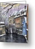 Prague Pastels Greeting Cards - Prague Chertovka Winter Greeting Card by Yuriy  Shevchuk