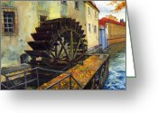 Oil Greeting Cards - Prague Chertovka Greeting Card by Yuriy  Shevchuk