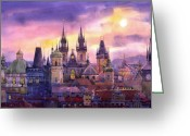 Buildings Painting Greeting Cards - Prague City of Hundres Spiers variant Greeting Card by Yuriy  Shevchuk