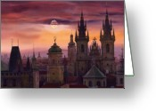 Watercolor  Painting Greeting Cards - Prague City of hundres spiers Greeting Card by Yuriy  Shevchuk