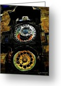 Orloj Greeting Cards - Prague Clock Greeting Card by Joan  Minchak