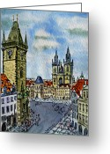 Old Town Painting Greeting Cards - Prague Czech Republic Greeting Card by Irina Sztukowski
