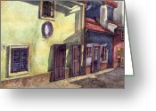 Watercolour Greeting Cards - Prague Golden Line Street Greeting Card by Yuriy  Shevchuk