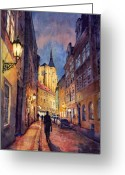 Buildings Painting Greeting Cards - Prague Husova Street Greeting Card by Yuriy  Shevchuk
