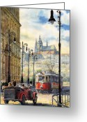 Watercolour Greeting Cards - Prague Kaprova Street Greeting Card by Yuriy  Shevchuk