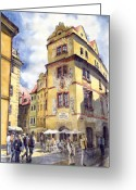 Europe Painting Greeting Cards - Prague Karlova Street Hotel U Zlate Studny Greeting Card by Yuriy  Shevchuk