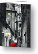 Black White Greeting Cards - Prague Love Story Greeting Card by Yuriy  Shevchuk