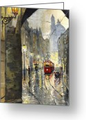 Light Greeting Cards - Prague Mostecka street Greeting Card by Yuriy  Shevchuk