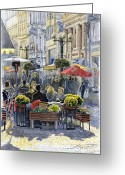 Buildings Painting Greeting Cards - Prague Mustek First Heat Greeting Card by Yuriy  Shevchuk