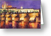 Europe Painting Greeting Cards - Prague Night Panorama Charles Bridge  Greeting Card by Yuriy  Shevchuk