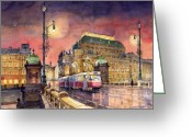 Streetscape Greeting Cards - Prague  Night Tram National Theatre Greeting Card by Yuriy  Shevchuk