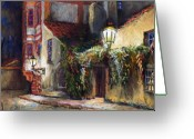 Prague Pastels Greeting Cards - Prague Novy Svet Kapucinska str Greeting Card by Yuriy  Shevchuk