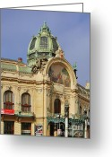 Hall Greeting Cards - Prague Obecni dum - Municipal House Greeting Card by Christine Till