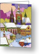 Prague Greeting Cards - Prague Old Roofs Prague Castle Winter Greeting Card by Yuriy  Shevchuk