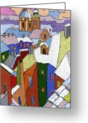 Winter Greeting Cards - Prague Old Roofs Winter Greeting Card by Yuriy  Shevchuk
