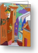 Buildings Greeting Cards - Prague Old Steps Winter Greeting Card by Yuriy  Shevchuk