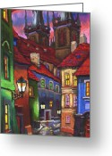 House Tapestries Textiles Greeting Cards - Prague Old Street 01 Greeting Card by Yuriy  Shevchuk