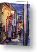 Old Greeting Cards - Prague Old Street Golden Line Greeting Card by Yuriy  Shevchuk