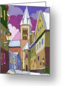 Winter Greeting Cards - Prague Old Street Jilska Winter Greeting Card by Yuriy  Shevchuk