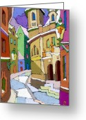 Prague Pastels Greeting Cards - Prague Old Street Karlova Winter Greeting Card by Yuriy  Shevchuk