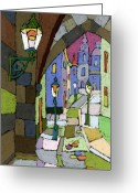 Prague Greeting Cards - Prague Old Street Mostecka Greeting Card by Yuriy  Shevchuk
