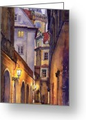 Watercolor  Painting Greeting Cards - Prague Old Street  Greeting Card by Yuriy  Shevchuk