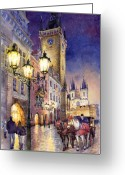 Night Greeting Cards - Prague Old Town Square 3 Greeting Card by Yuriy  Shevchuk