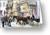 Old Town Painting Greeting Cards - Prague Old Town Square Astronomical Clock or Prague Orloj  Greeting Card by Yuriy  Shevchuk
