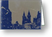 Old City Tower Greeting Cards - Prague old town square Greeting Card by Irina  March