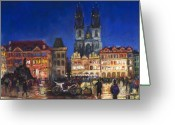 Old Greeting Cards - Prague Old Town Square Night Light Greeting Card by Yuriy  Shevchuk