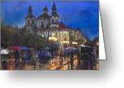 Prague Pastels Greeting Cards - Prague Old Town Square St Nikolas Ch Greeting Card by Yuriy  Shevchuk