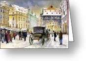 Town Painting Greeting Cards - Prague Old Town Square Winter Greeting Card by Yuriy  Shevchuk