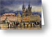 Watercolor  Painting Greeting Cards - Prague Old Town Squere After rain Greeting Card by Yuriy  Shevchuk
